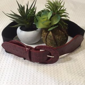 Bebe Patent Croc Stretch Belt